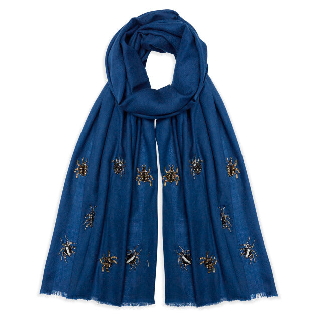 Jewelled Nature Pashmina - Navy