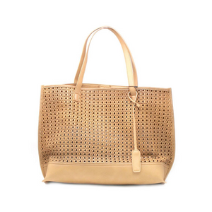NUDE WEAVE TEXTURE PERFORATED TOTE