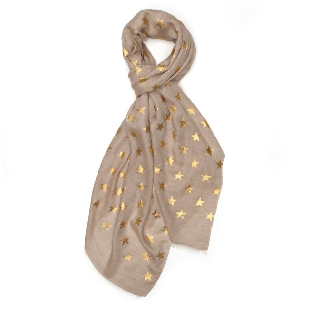 Metallic Gold Star Pashmina - Sand