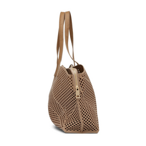 TAUPE LASER CUT ZIP SHOULDER BAG
