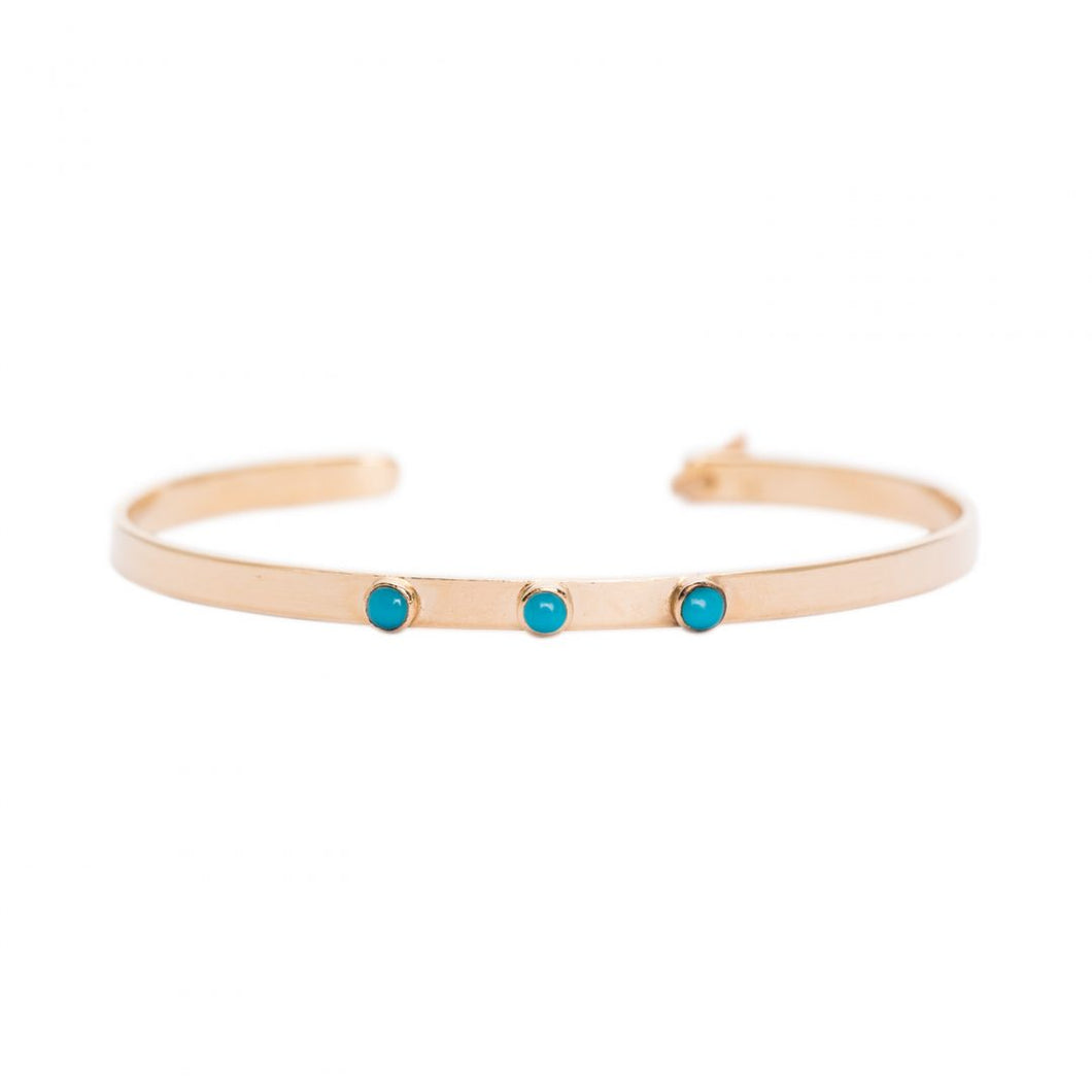 GOLD JONC BRACELET WITH TRIPPLE TURQUOISE STONE