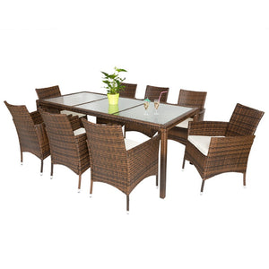 Salon de jardin 8 chaises + table marron 2108009