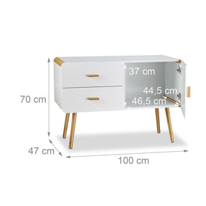 Commode scandinave sideboard buffet meuble appoint 2 tiroirs 100 cm blanc 13_0000798