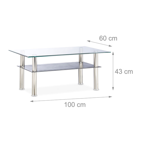 Table basse rectangle 100 cm en verre transparent + noir 13_0002608