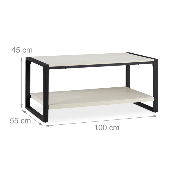 Table basse rectangle 100 cm blanc et noir 13_0002602