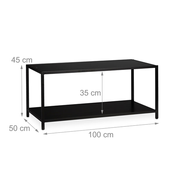 Table basse rectangle 100 cm en verre noire 13_0002607