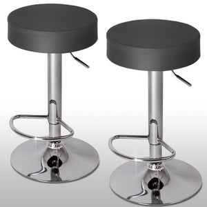 Lot de 2 tabourets de bar gris design rond  moderne 1201059