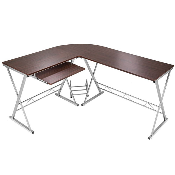 Bureau d'angle informatique meuble marron 170 cm 0508094