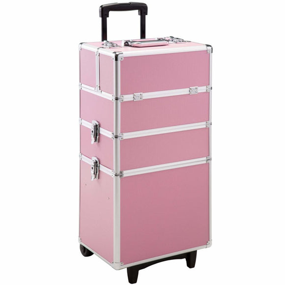 Mallette maquillage trolley 3 niveaux rose 2008231
