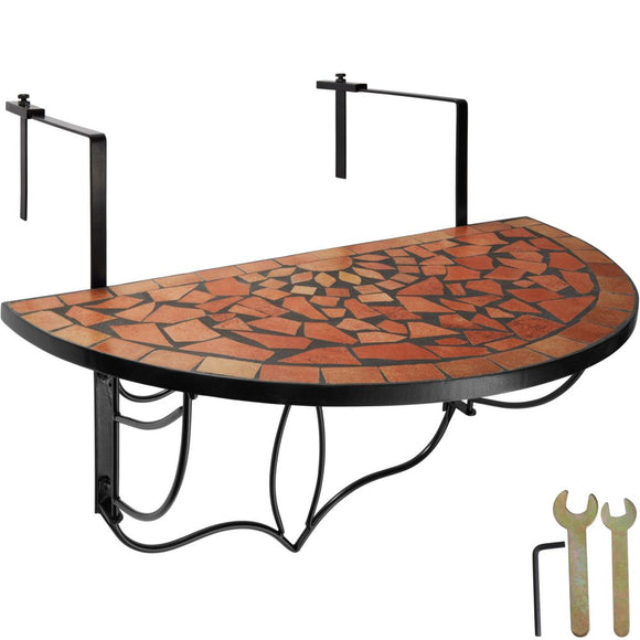 Table de balcon rabattable marron terracotta 76 cm 2208253