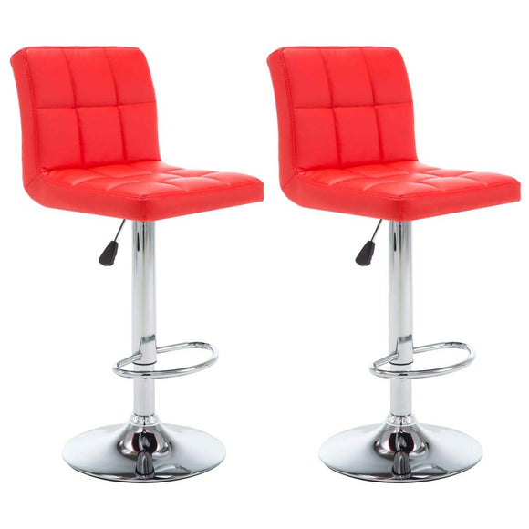 Lot de deux tabourets de bar design chaise siège similicuir rouge 1202153