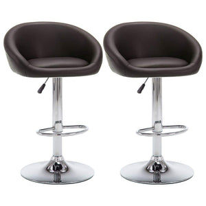 Lot de deux tabourets de bar design chaise siège similicuir marron 1202179