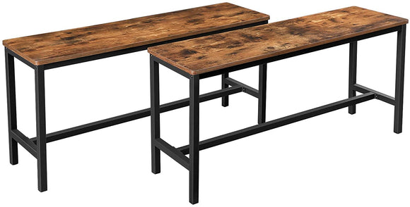 Lot de 2 bancs style industriel marron et noir 12_0000024