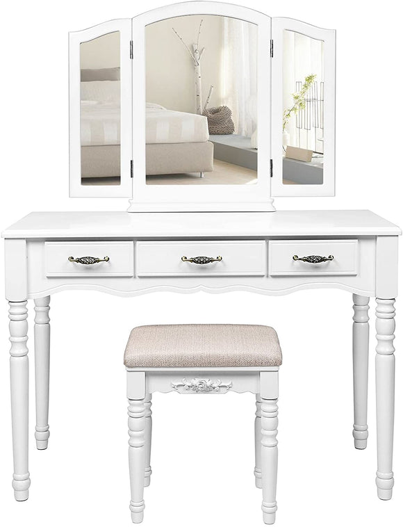 Coiffeuse grande table de maquillage 3 miroirs rabattables 3 tiroirs 108 cm blanc12_0000958