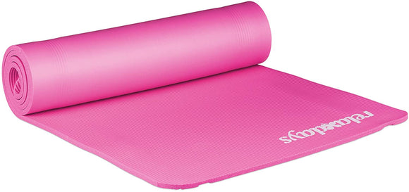 Tapis de yoga 1 cm épaisseur caoutchouc sangle transport gymnastique pilates aérobic rose 13_0002843_7