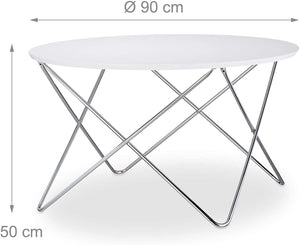Table basse d'appoint ronde diamètre 90 cm blanc 13_0002677_2