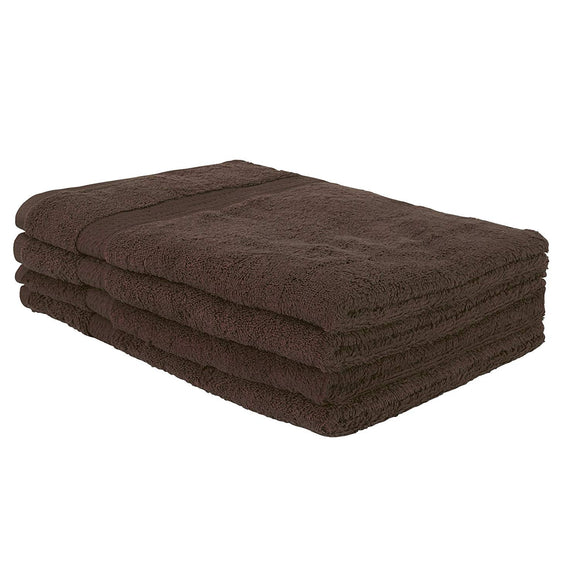 Lot de 4 serviettes de toilette bain 100 x 50 cm 100% coton marron 4001006