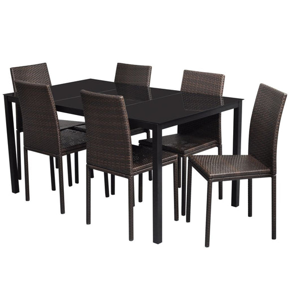 Ensemble table et 6 chaises en rotin PE marron 2102017