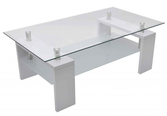 Table basse design blanche verre  0902003