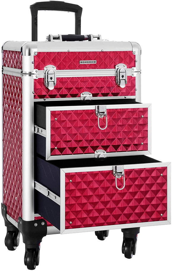 Valise de maquillage trolley losange rouge 12_0001118