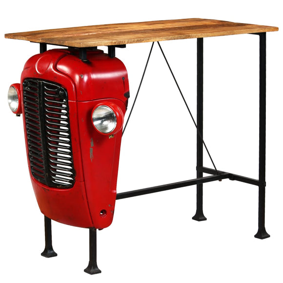 Table haute mange debout bar bistrot  bois de manguier 120 cm rouge tracteur 0902066