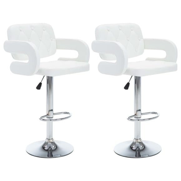 Lot de deux tabourets de bar design chaise siège similicuir  blanc 1202107