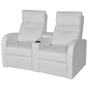 Fauteuil chaise siège lounge design club sofa salon inclinable à 2 places cuir synthétique blanc 1102071/3
