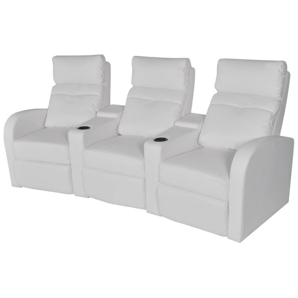 Fauteuil chaise siège lounge design club sofa salon inclinable à 3 places cuir synthétique blanc 1102073/3