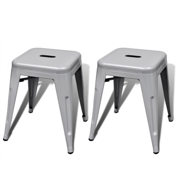 Lot de 2 tabourets empilable en métal / fer style factory gris 1202045