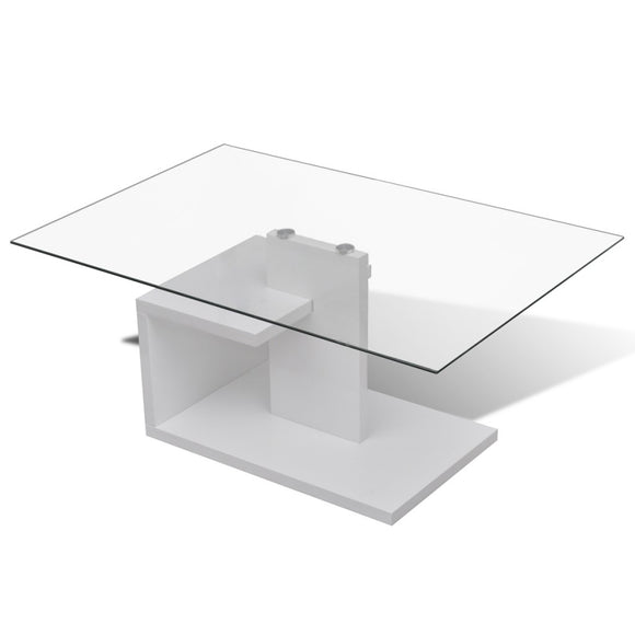 Table basse design blanche verre  0902006