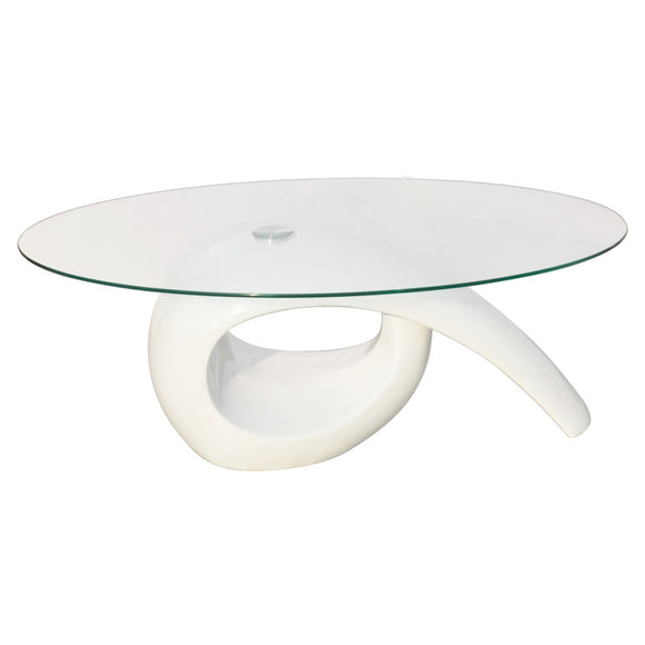 Table basse design blanche verre  0902016