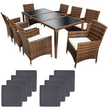 Salon de jardin 8 chaises + table marron 2108006