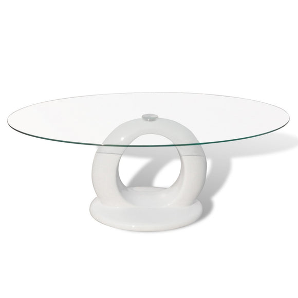 Table basse design blanche verre  0902010