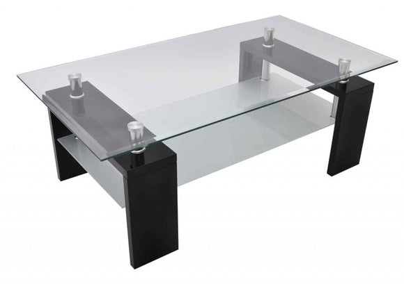 Table basse design noir verre  0902004