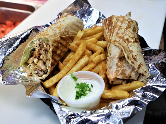 Chicken Shawarma and Fries