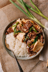 Fried Beef with Bean Curd on Rice