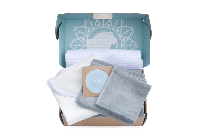 Wise Towl's Gift Set with one of each of our luxury bamboo towels, hand towels, wash cloths, organic baby towels, and organic cotton bath sheets