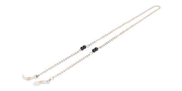 Chloe / Gold Chain-Midnight Black Beads
