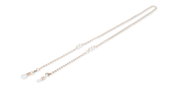 Chloe / Gold Chain-Ivory White Beads