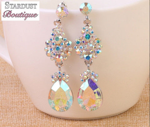 AB crystal pageant earrings.