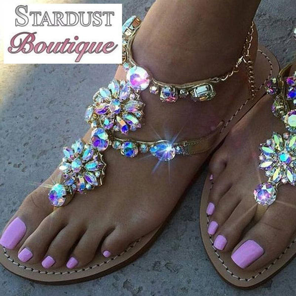 Beautiful Bohemian Gold and AB Crystal Sandals