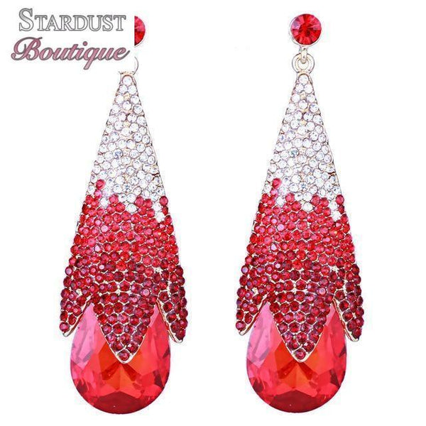 Drop pageant earrings in red, black, blue, purple, silver and more.