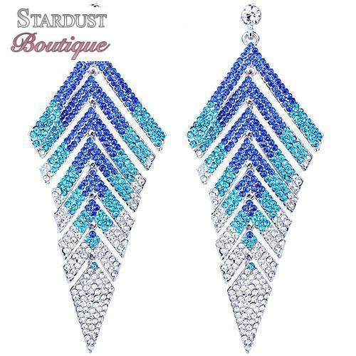 Long pageant earrings in blue, purple, red, white, silver and more.