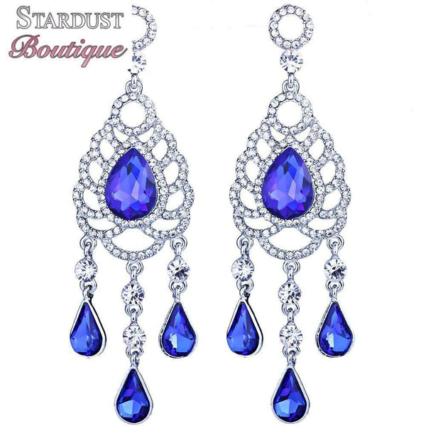 Water drop pageant earrings in royal blue, red, silver and brown.