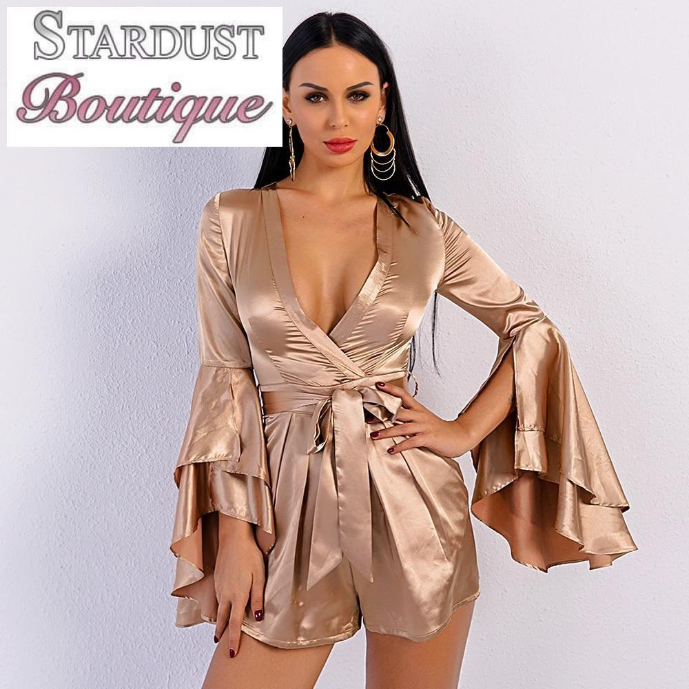 Gorgeous Shining Ruffle Sleeve Playsuit Jumpsuit