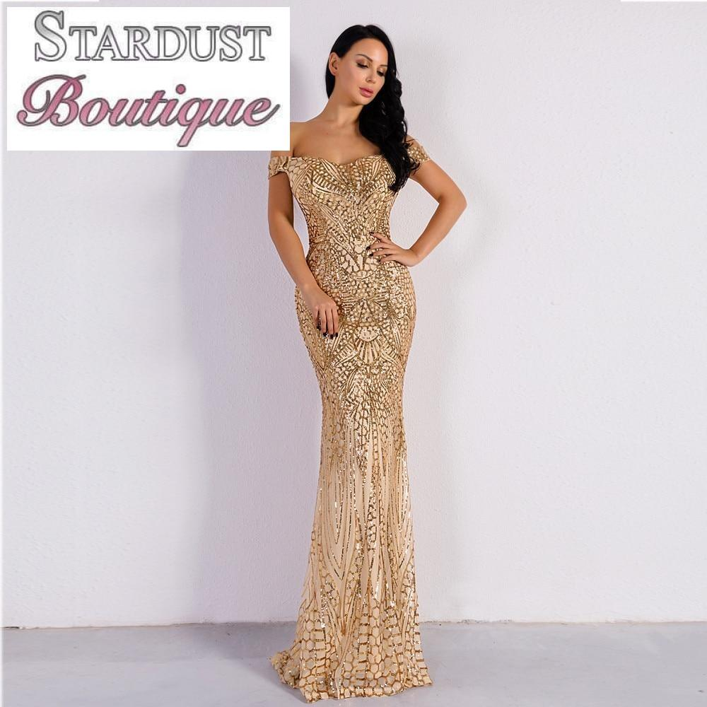 Gorgeous Sequin Off Shoulder Evening Gown Dress