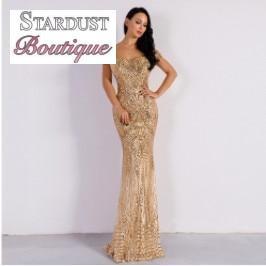 Gorgeous Sequin Off Shoulder Evening Gown Gold / L Dress