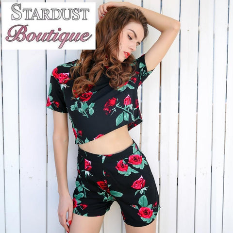 Beautiful Floral Rose Print Two-piece