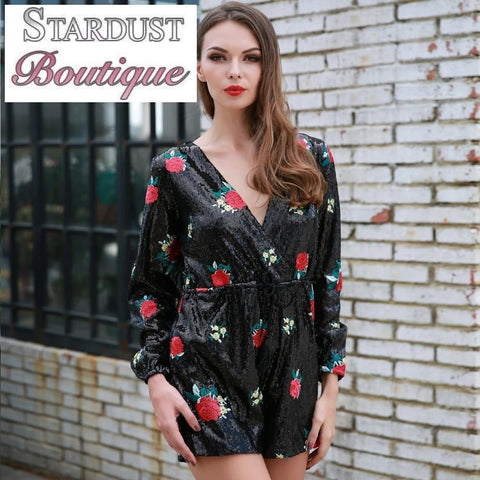 Beautiful Floral Print Sequin Playsuit