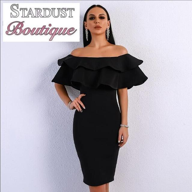 Classy Ruffle Off-Shoulder Dress Black / L Dress
